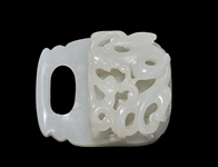 18th Century Chinese Finely Carved White Jade Buckle