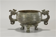 Chinese Spinach Jade Archaistic Tripod Censer