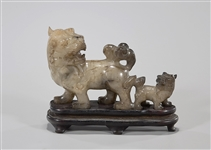 Antique Chinese Carved Jade Lion With Cub