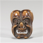 Fine Antique Wood Mask Netsuke