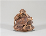 Carved Wood Okimon0-Sized Netsuke
