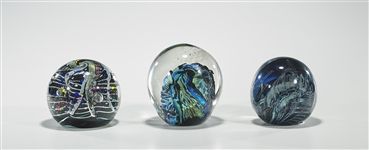 Group of Three Large Art Glass Paperweights