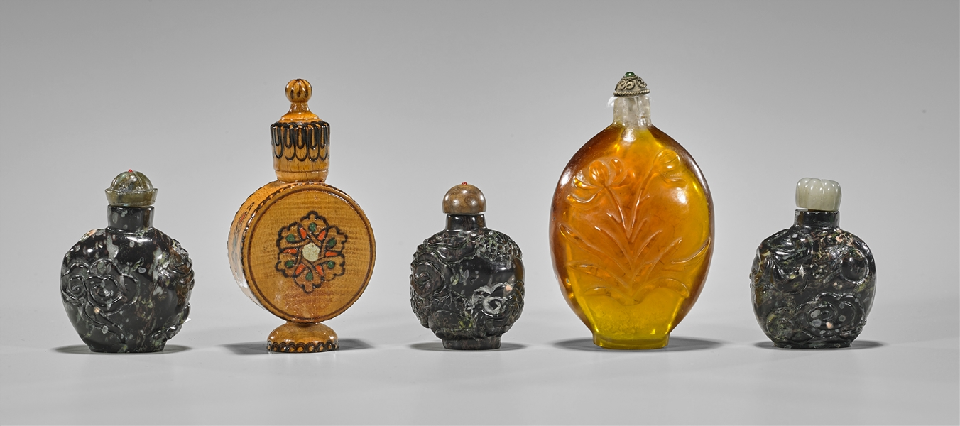 Group of Five Various Snuff Bottles