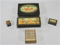 Group of Five Russian Hand Painted Boxes