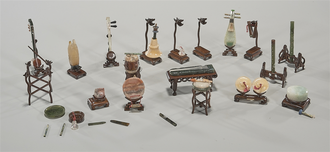 Large Collection of Various Chinese Carved Miniature Jade, Jadeite & Hardstone Instruments