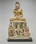 Burmese Gilt & Polychrome Ceramic Figure of Buddha with Disciples & Attendants