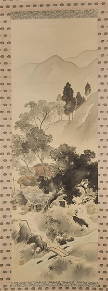 Early 20th Century Japanese Silk Scroll Painting