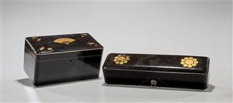 Antique Japanese Lacquer Scroll Box; Together With Antique Japanese Lacquer Tea Caddy