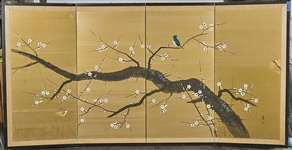 Japanese Four Panel Painted Paper Screen