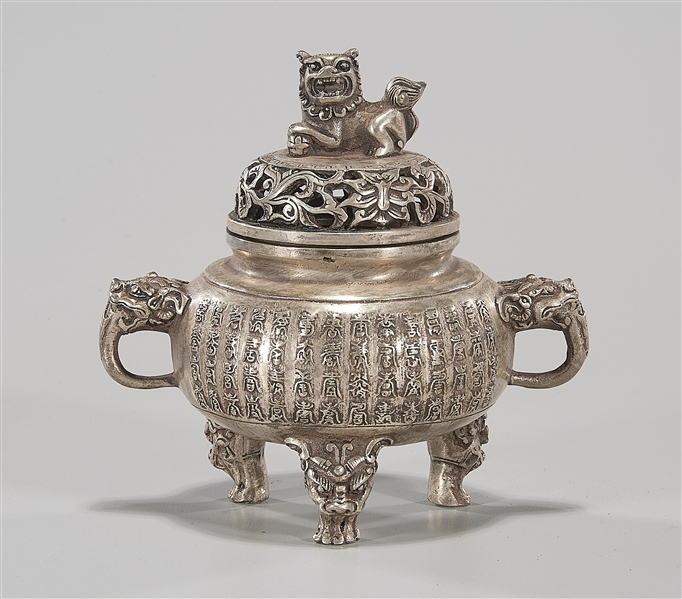 Chinese Silvered-Metal Tripod Covered Censer