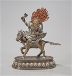Tibetan Copper With Tin Overlay Seated Deity