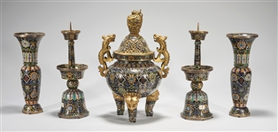 Group of Five Chinese Cloisonne Garniture Set