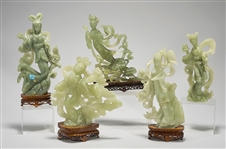 Group of Five Chinese Carved Serpentine or Bowenite Figures