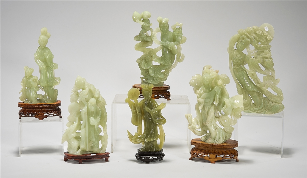 Group of Six Chinese Bowenite or Serpentine Carved Figures