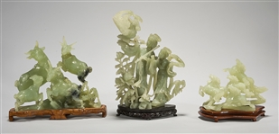 Three Chinese Bowenite or Serpentine Figural Groups