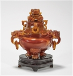 Chinese Agate Tripod Covered Censer