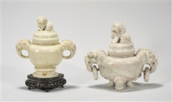 Two Chinese Carved Hardstone Covered Censers
