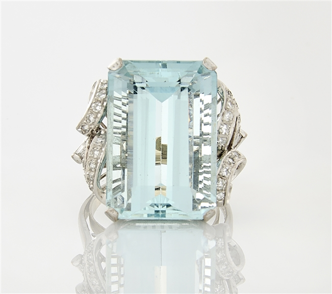 14K White Gold, Aquamarine, & Diamond Ring