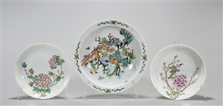 Group of Three Chinese Enameled Porcelain Dishes