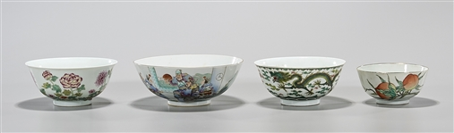 Group of Four Chinese Enameled Porcelain Bowls