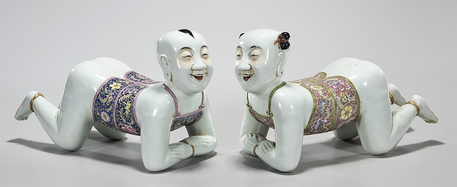 Pair Chinese Porcelain Child Figures