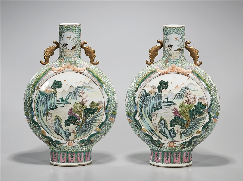 Pair Chinese Enameled Porcelain Moonflasks