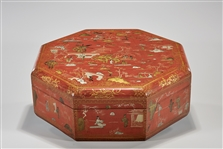 Chinese Lacquered Octagonal Covered Box