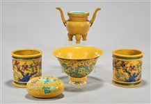 Group of Five Various Chinese Yellow Glazed Porcelains