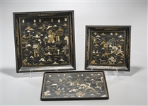 Three Chinese Painted Wood Trays