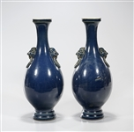 Pair Chinese Blue Porcelain Vases