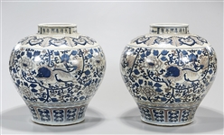 Pair Chinese Blue and Red Porcelain Vases