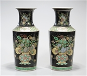 Pair Chinese Enameled Porcelain Rouleau Vases