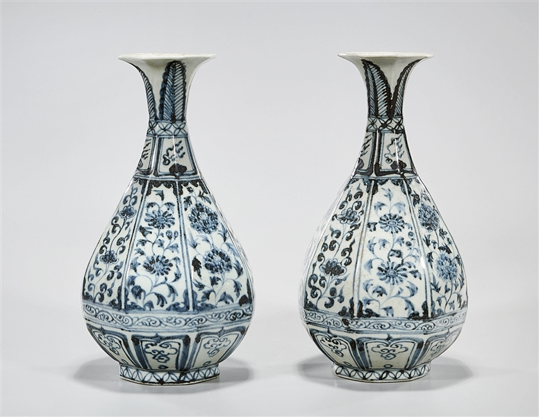 Pair Chinese Blue and White Porcelain Yuhuchunping Vases