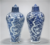 Two Chinese Blue and White Porcelain Covered Meiping Vases