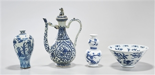 Group of Four Chinese Blue and White Porcelains