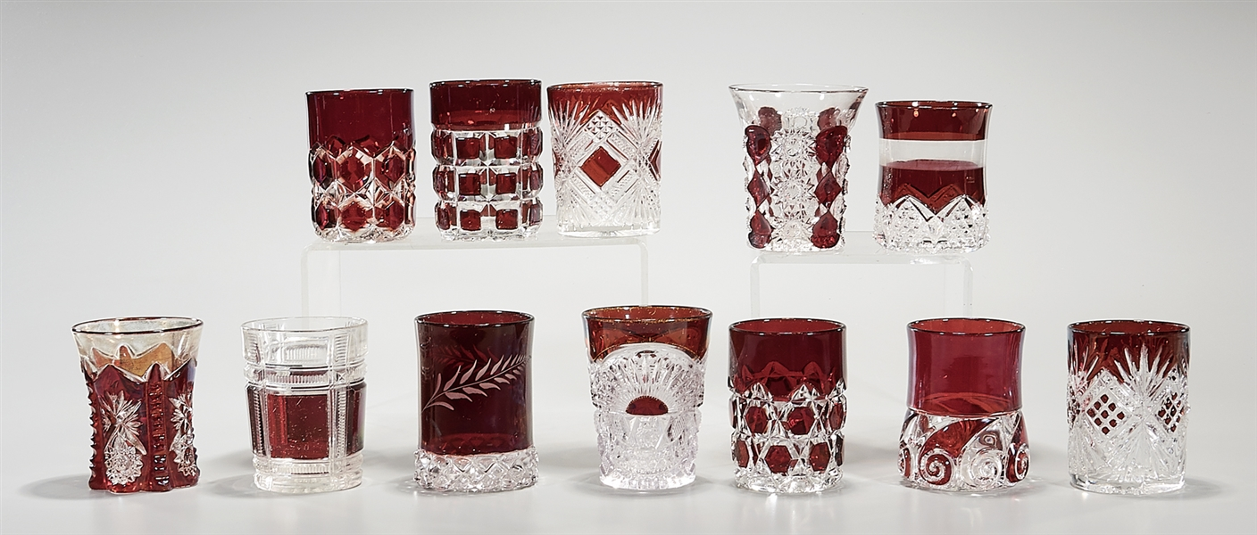 Group of Ruby Cut Clear Crystal Glassware