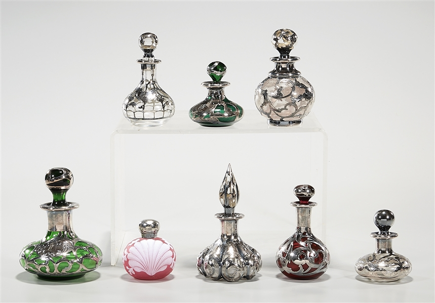 Group of Sterling and Silver Plate Overlay and Decorated Glass Perfume Bottles