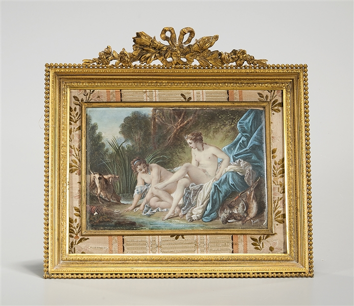 "Oil on Copper Painting, ""Diana Leaving Her Bath"", Signed Perin"