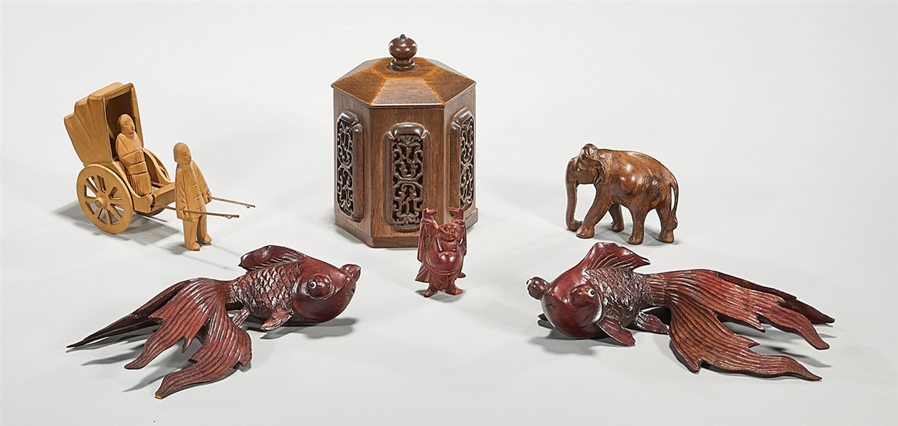 Group of Six Chinese and Japanese Wood Carvings
