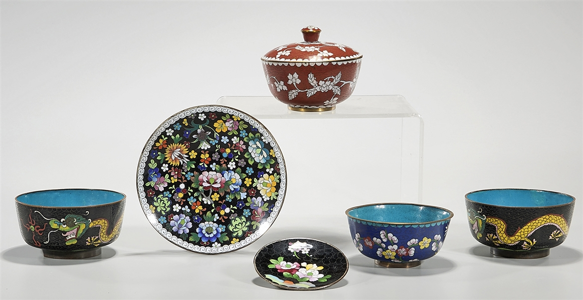 Group of Six Japanese Cloisonne Pieces