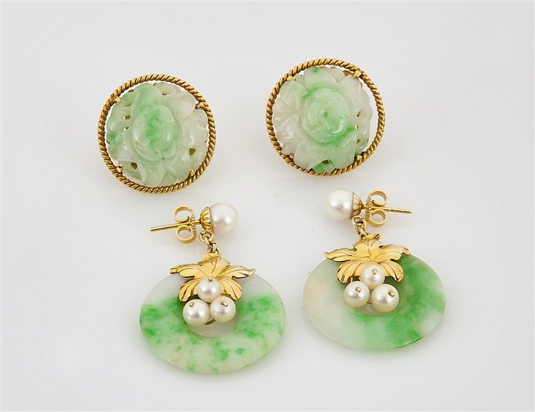 Two Pair 14K Gold and Jadeite Earrings