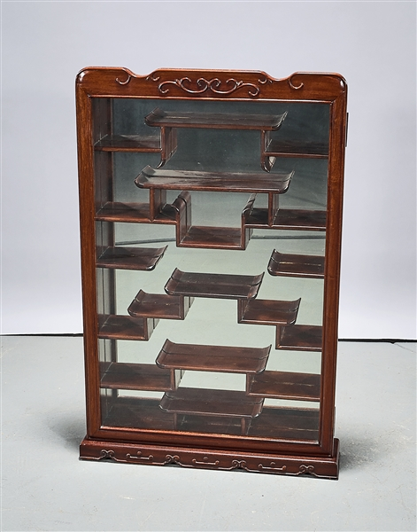 Chinese Wood and Glass Curio Cabinet