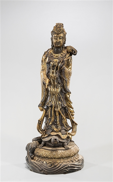 Chinese Gilt Metal Standing Guanyin