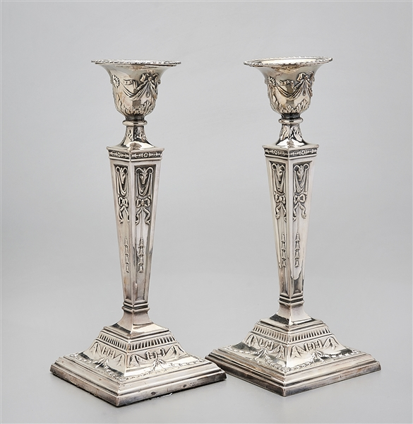 Pair of Weighted Silver Plate Candlesticks