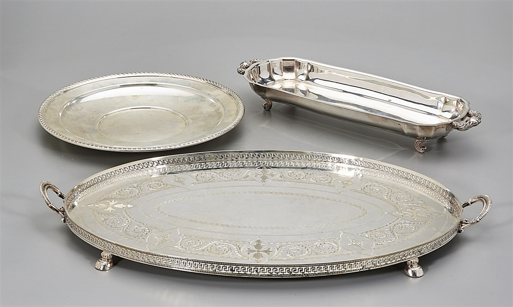 Three Silver Plate Serving Trays