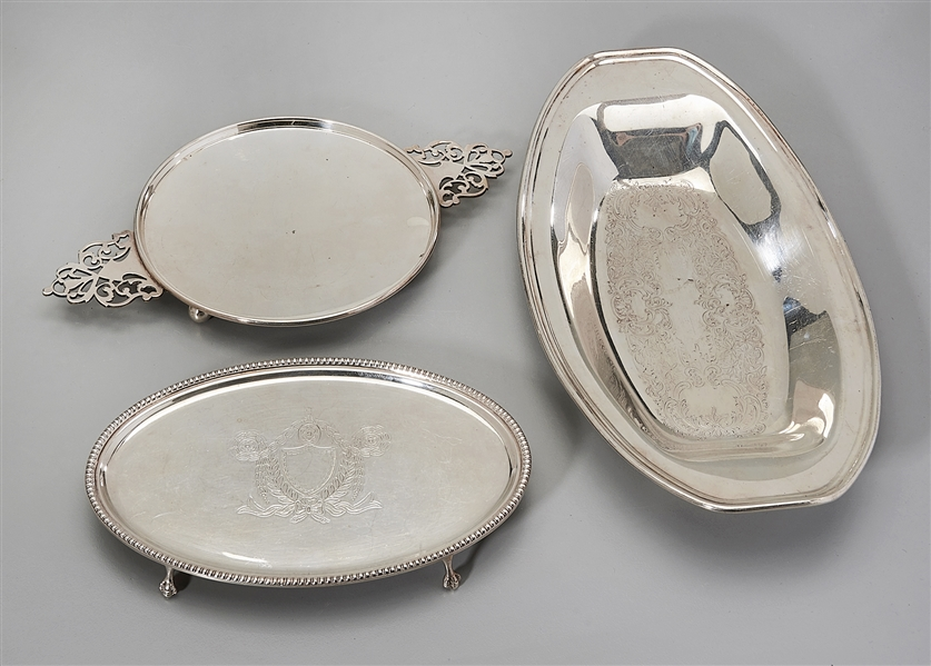 Group of Three Various Silver Plate Trays