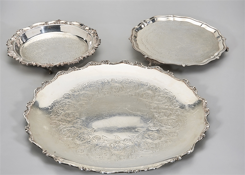 Three Decorative Silver Plate Service Trays