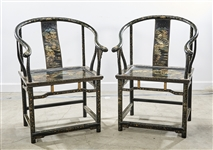 Pair Chinese Painted Hard Wood Scholars Chairs