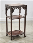 Chinese Marble Inset Hard Wood Side Table
