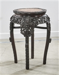 Chinese Stone Inset Hard Wood Side Table